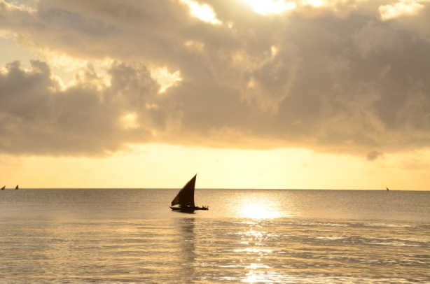 Dhow at sunrise from Peponi beach