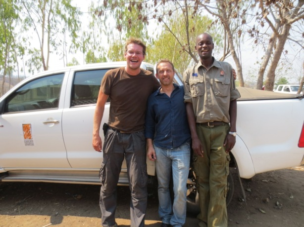 Richard with Concern Universal Project Managers, Nelson and Chimwemwe