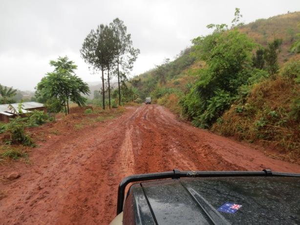 Tackling the muddy road the next day