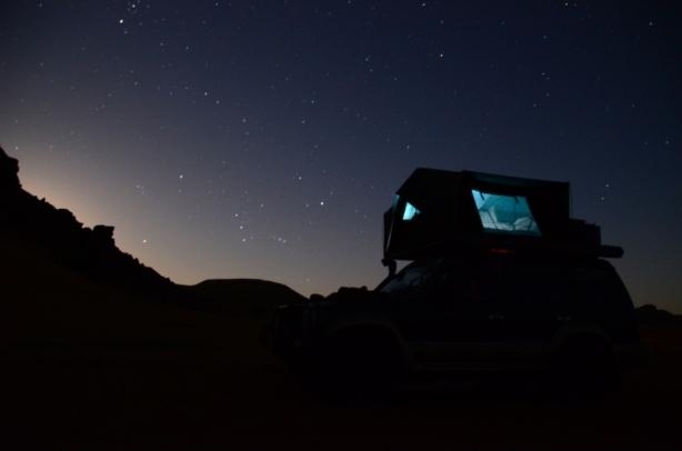 Under the star-filled desert sky